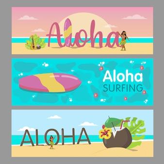 Aloha banners design para resort havaiano. senhora colorida dançando na praia e a água do mar. conceito de férias e verão do havaí. modelo para folheto promocional ou brochura