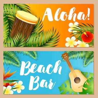Aloha, beach bar conjunto de inscrições, plantas tropicais, ukulele, tambor