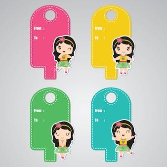 Aloha bonito menina personalizada para conjunto de etiquetas de presente de aniversário