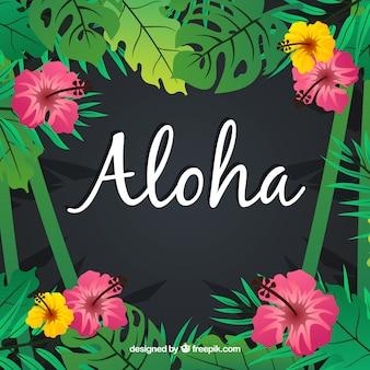 Aloha fundo com flores e folhas