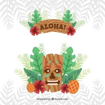 Aloha fundo com máscara e folhas