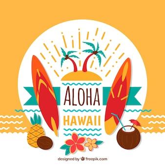Aloha fundo decorativo e pranchas de surf