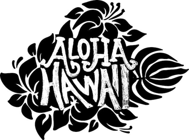 Aloha, havaí, vetor, grunge, letras modernas, modelo, vetorial, com, motivos florais
