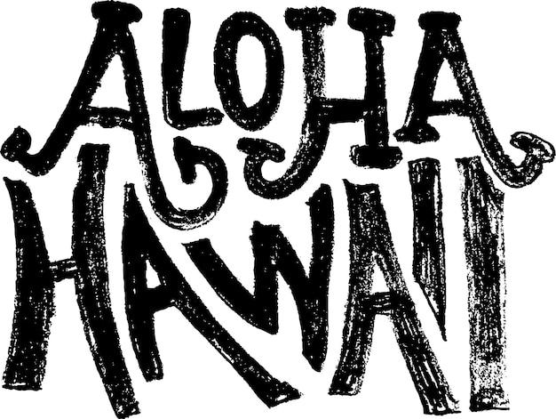 Aloha havaí, vetor, grunge, letras modernas, vetor, banner, modelo, banner