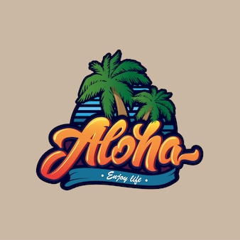 Aloha logotipo da rotulação.