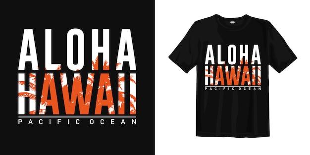Aloha oceano pacífico de havaí com silhueta da palma pôsteres