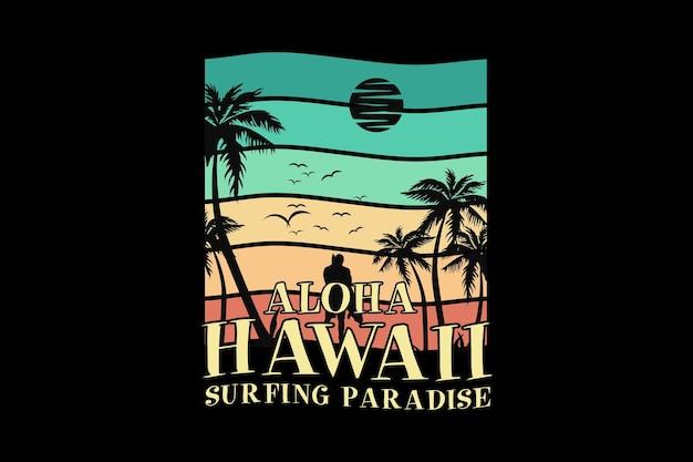 Aloha paraíso do surfe no havaí, design elegante em estilo retro