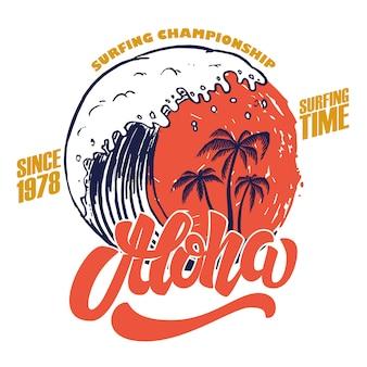 Aloha. tempo de surf. modelo de cartaz com letras e palmas das mãos. imagem
