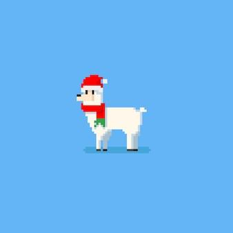 Alpaca branca do pixel com chapéu e lenço de santa. natal.