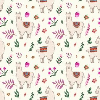 Alpaca, cacto e padrão floral sem emenda.