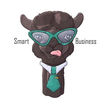 Alpaca desenhada à mão com gravata