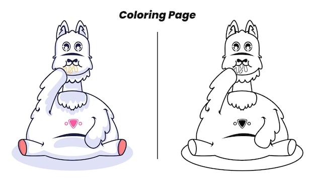 Alpaca fofa fazendo uma pausa para colorir