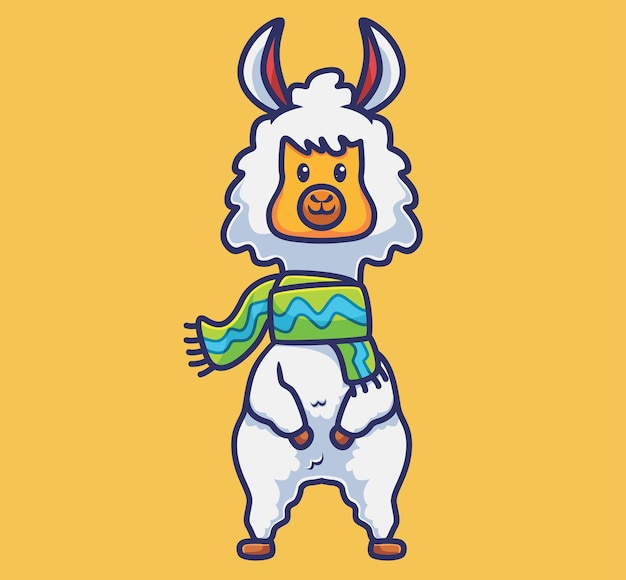 Alpaca fofa vestindo cachecol dos desenhos animados conceito de natureza animal ilustração isolada estilo adequado