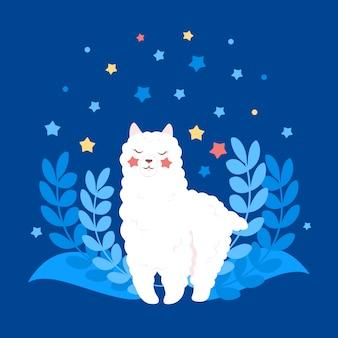 Alpaca ou lhama, personagem de desenho bonito branco. animal engraçado sorridente plano. lama bonito com plantas e estrelas