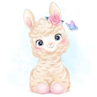 Alpaca pequena bonita com ilustração em aquarela