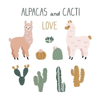 Alpacas de bonito dos desenhos animados e elementos de design de cactos.