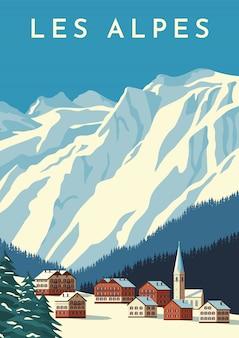 Alpes viajar poster retro, banner vintage. aldeia da montanha da áustria, paisagem de inverno da suíça. ilustração plana.