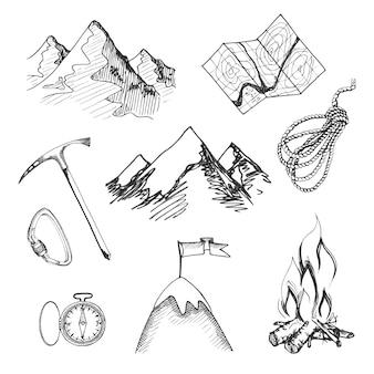 Alpinismo, acampamento, decorativo, ícone, conjunto, mapa, corda, compasso, fogueira, isolado, vetor, ilustração