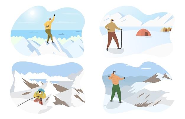 Alpinista alpinista homem de pé no topo ilustração plana de montanha de neve de gelo