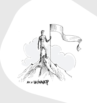 Alpinista com a bandeira conquistando o topo da montanha fundo de vetor desenhado à mão