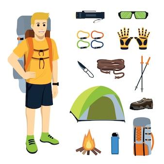 Alpinista com equipamento de escalada e equipamentos