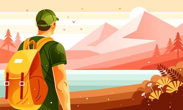 Alpinista com mochila caminhando escalada de montanha