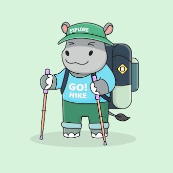 Alpinista de hipopótamo fofa com chapéu, mochila e bastão de trekking