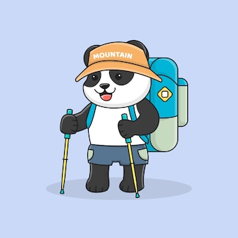 Alpinista de panda bonito com vara de trekking e chapéu
