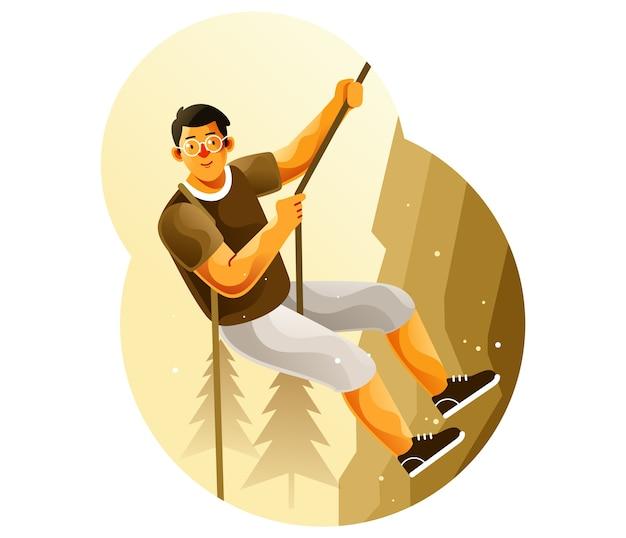 Alpinista escalando um penhasco