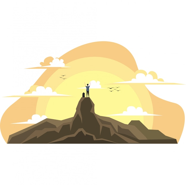 Alpinista está escalando uma montanha na ilustração de noite