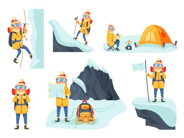 Alpinista trekking ou caminhadas na temporada de inverno definido. amante de esportes radicais superando acampamento em cume nevado, procurando uma rota segura em mapa de papel