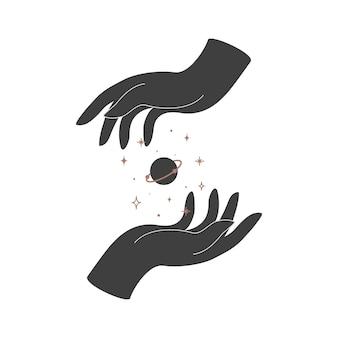 Alquimia esotérica magia mística talismã celestial com mãos de mulher e geometria sagrada do planeta. objeto de ocultismo espiritual. ilustração vetorial