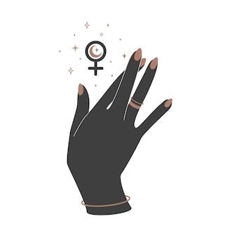 Alquimia esotérica mágica celestial talismã com mão de mulher com dedos cruzados e sinal feminino. objeto de ocultismo espiritual. ilustração vetorial.