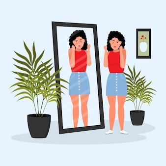 Alta autoestima com mulher e espelho