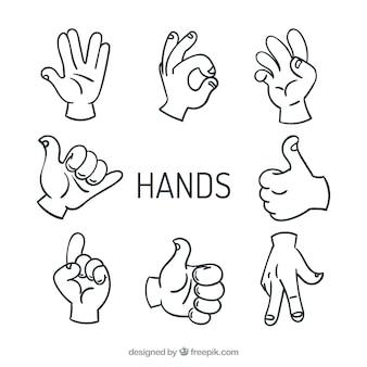 Alta de cinco mãos sinal vetores