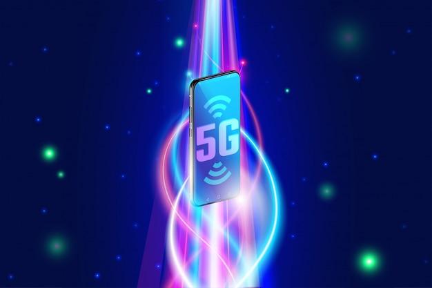 Alta velocidade de rede sem fio 5g no conceito de smartphone, próxima geração de internet e internet das coisas