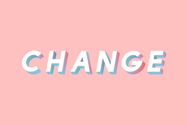 Alterar a fonte isométrica gradiente de tipografia de letras