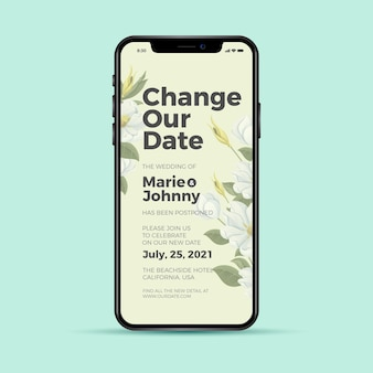 Alterar nosso aplicativo de telefone para casamento adiado por data