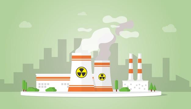 Alternativa de recursos de tecnologia de usina nuclear com grande edifício de reator na área da cidade