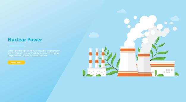 Alternativa de recursos de tecnologia de usina nuclear para o modelo de site ou página inicial de destino