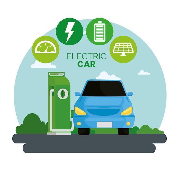 Alternativa ecológica de carro elétrico azul no design da estação de carregamento