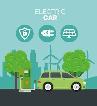 Alternativa ecológica de carro elétrico na estação de carregamento e design de árvores