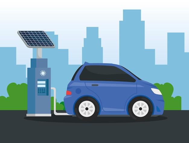 Alternativa ecológica de carro elétrico na estação de carregamento no projeto da cidade