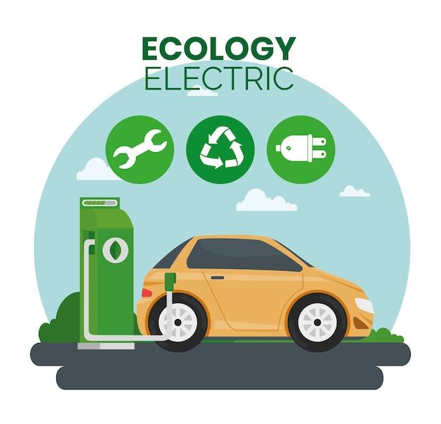 Alternativa ecológica de carro elétrico no design da estação de carregamento