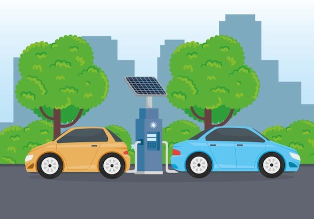 Alternativa ecológica de carros elétricos no design da cena da estação de carregamento