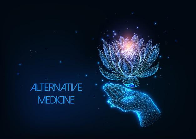 Alternativa futurista, conceito de terapia holística com mão humana poligonal brilhante e flor de lótus
