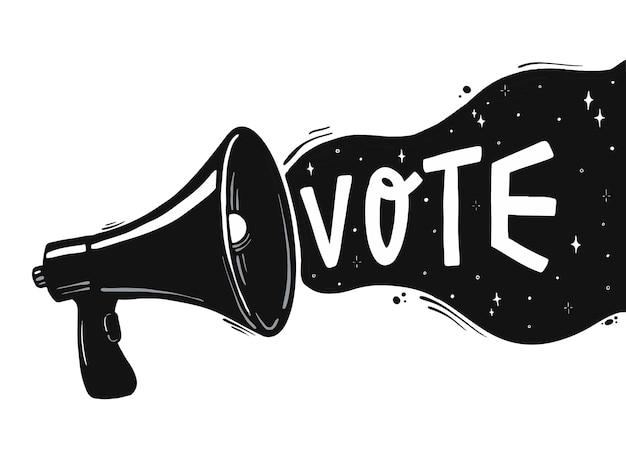 Altifalante com a citação de letras à mão 'vote'