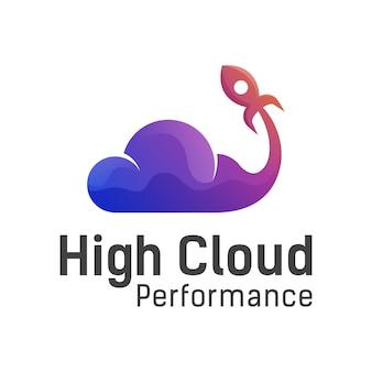Alto desempenho de nuvem com modelo de vetor de design de logotipo gradiente foguete