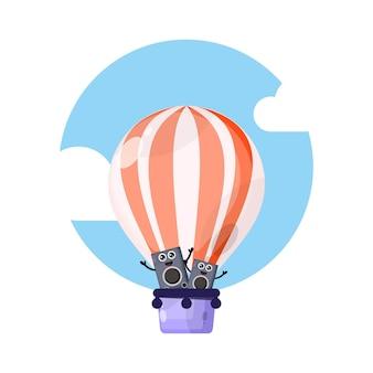 Alto-falante balão de ar quente, mascote fofa personagem