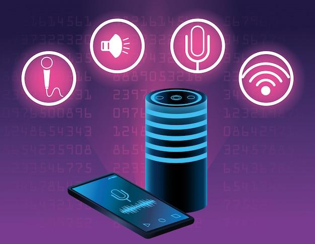 Alto-falante de reconhecimento de voz de smartphone